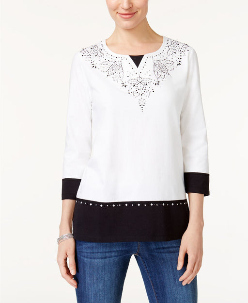Alfred Dunner Embellished Layered-Look Top Multi S