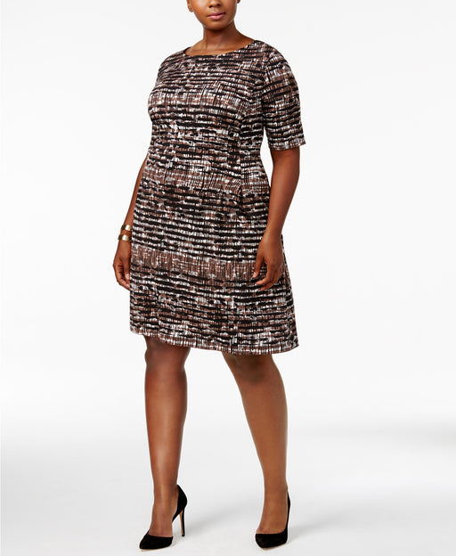 Connected Plus Size Printed Dress BlackBrown 20W