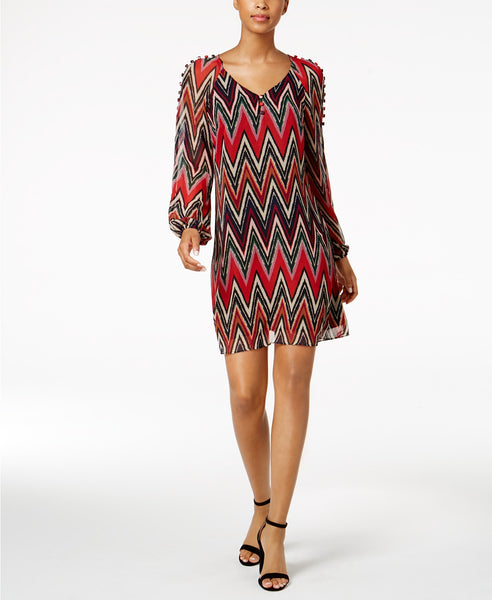 Taylor Chevron-Stripe Button-Shoulder Red 6