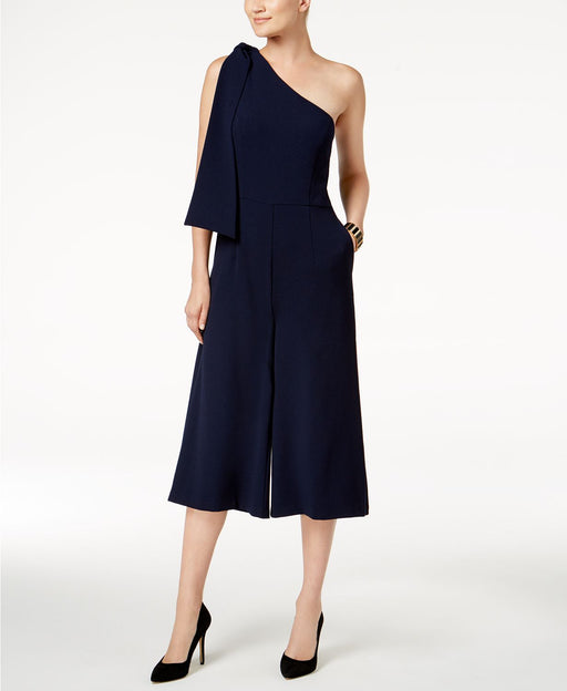 julia jordan Cropped One-Shoulder Jumpsuit Navy 6