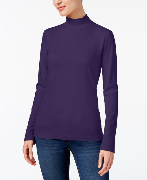 Karen Scott Cotton Mock-Neck Top Cassis XS