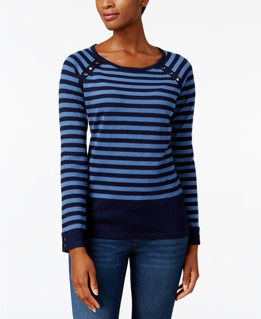 Karen Scott Striped Button-Shoulder Sweate Blue Stripe Combo L