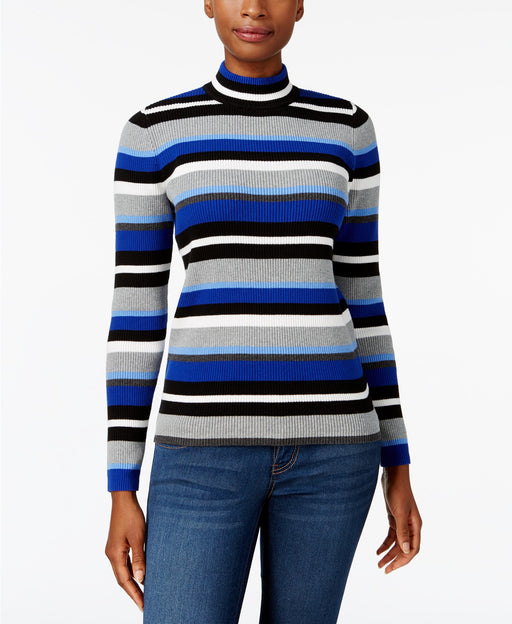 Karen Scott Cotton Striped Mock-Turtleneck Bright Blue Combo XS