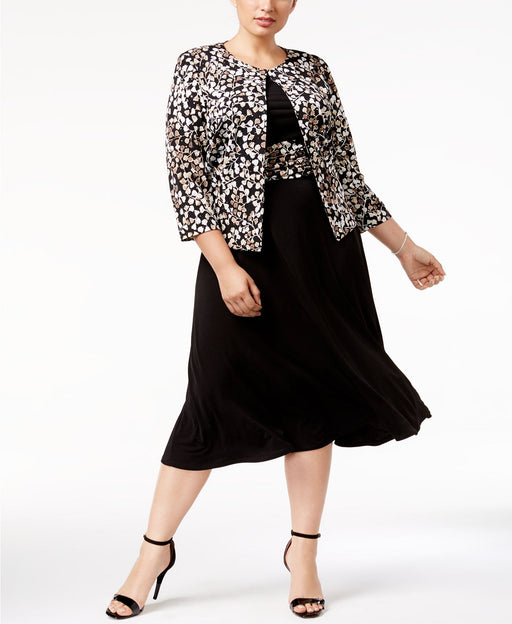 Jessica Howard Plus Size Embellished A-Line D BlackTaupe 22W
