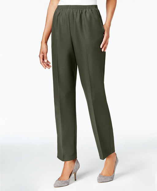 Alfred Dunner Pull-On Straight-Leg Pants Olive 18