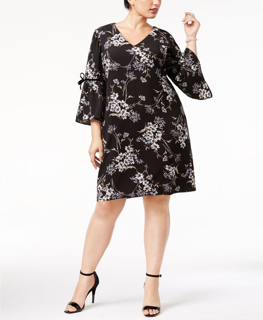 Jessica Howard Plus Size Flutter-Sleeve Shift Black Multi 18W