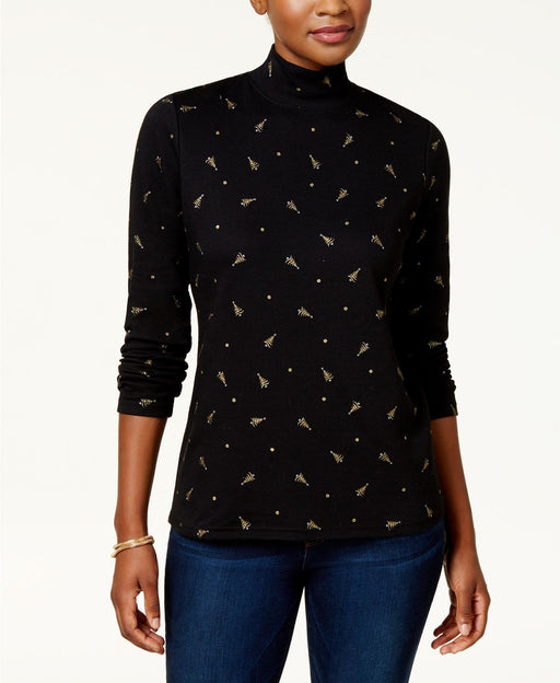 Karen Scott Petite Tree-Print Mock-Neck To Deep Black PS