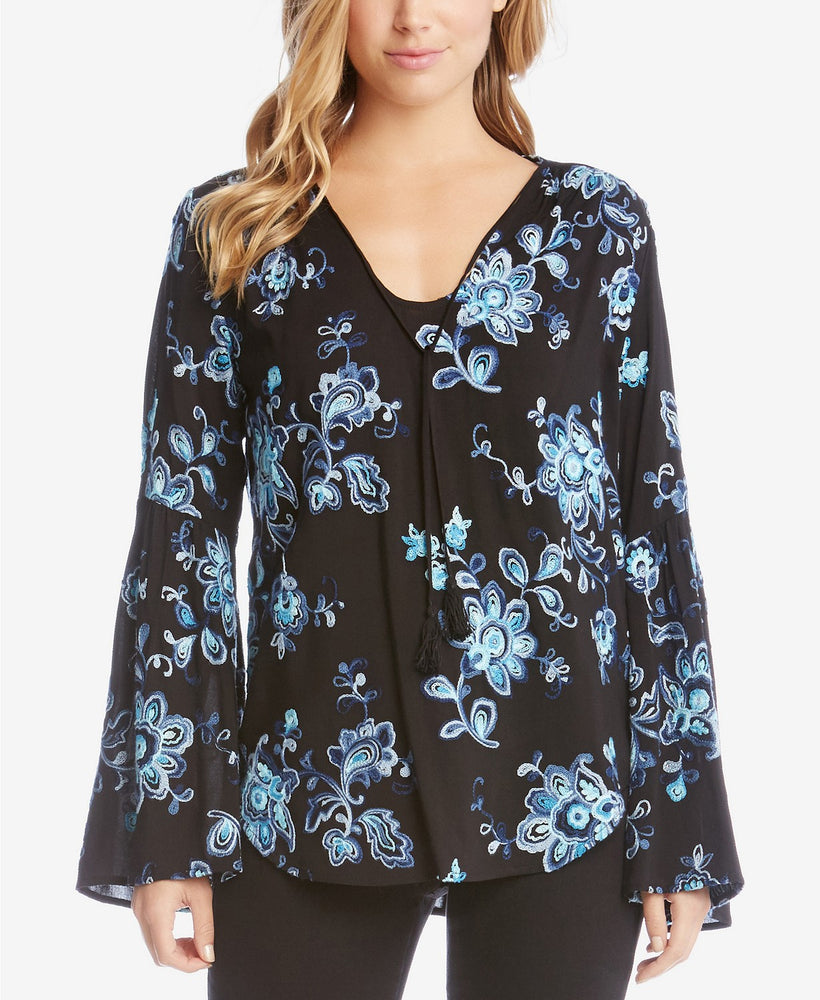 Karen Kane Floral-Embroidery Bell-Sleeve Sapphire Blue M