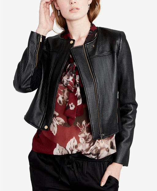 RACHEL Rachel Roy Quilted Cropped Moto Jacket Black 10