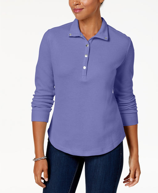 Karen Scott Snap-Front Polo Shirt Purple Bliss M