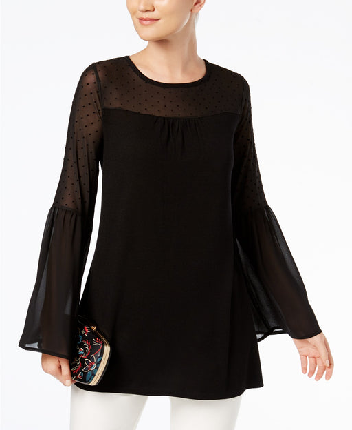 August Silk Illusion Bell-Sleeve Top Black L