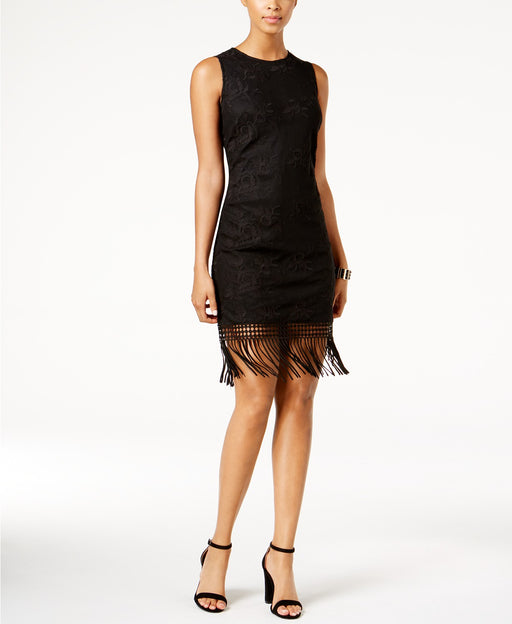 julia jordan Embroidered Fringe-Trim Dress Black 14