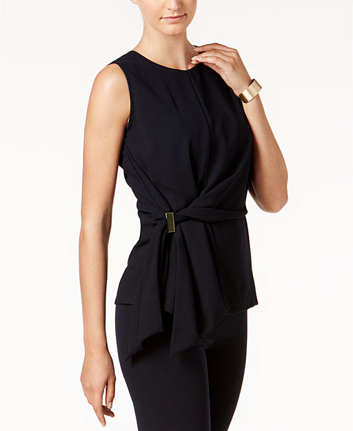 DKNY Faux-Wrap Hardware Top Navy 6