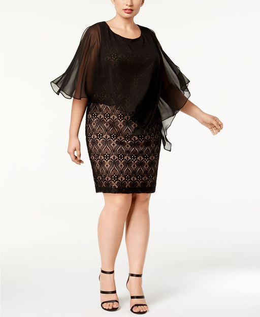 CONNECTED PLUS SIZE LACE COLD-SHOULDER C BLACKGOLD 22W