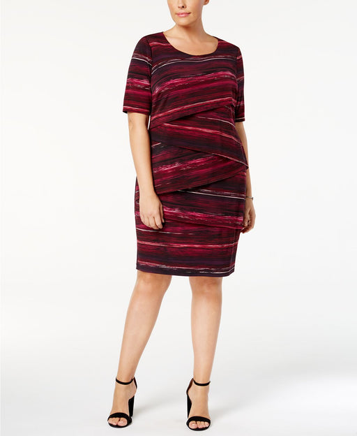 Connected Plus Size Printed Tiered Sheat Wine 14W