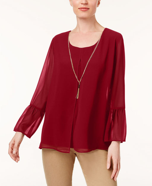 JM Collection Bell-Sleeve Necklace Tunic New Red Amore XL