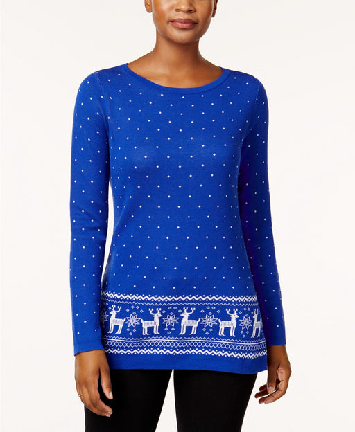 Karen Scott Cotton Reindeer Sweater Bright Blue Combo M