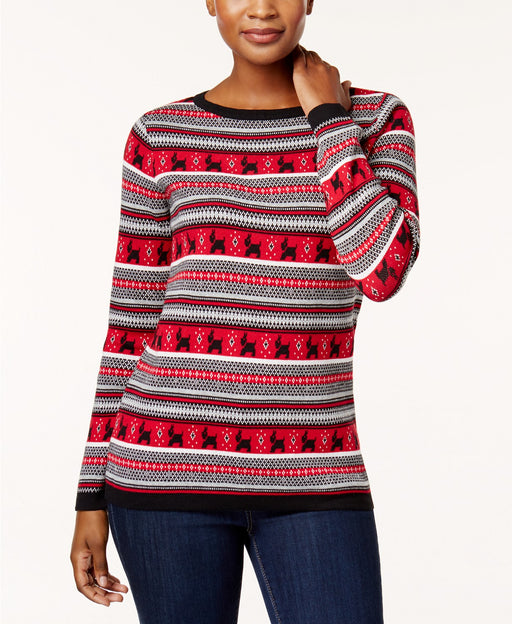 Karen Scott Cotton Terrier-Print Sweater New Red Amore Combo L