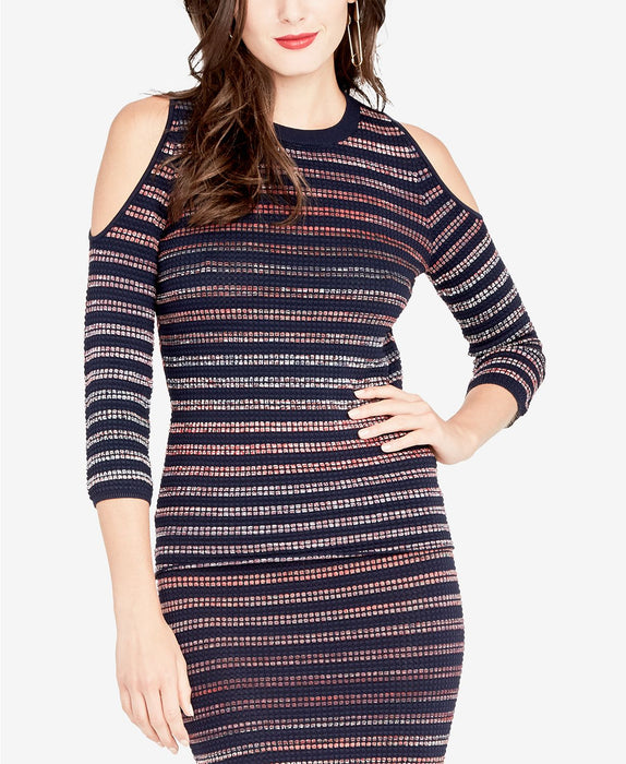 RACHEL Rachel Roy Cold-Shoulder Sweater Dress NavyPort Combo XXL