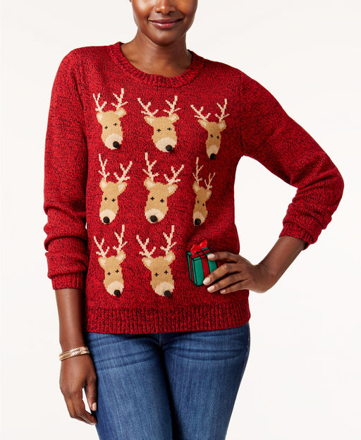 Karen Scott Petite Reindeer Sweater New Red Amore PS