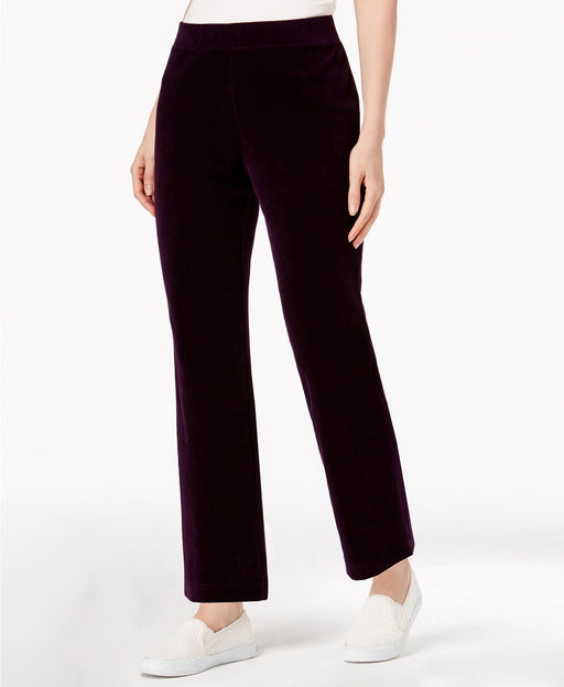 Karen Scott Petite Velour Pull-On Pants Marquis Purple PXL