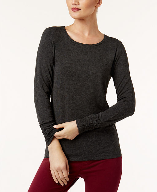 Alfani Petite Long-Sleeve Ruched Top Deep Black PXL