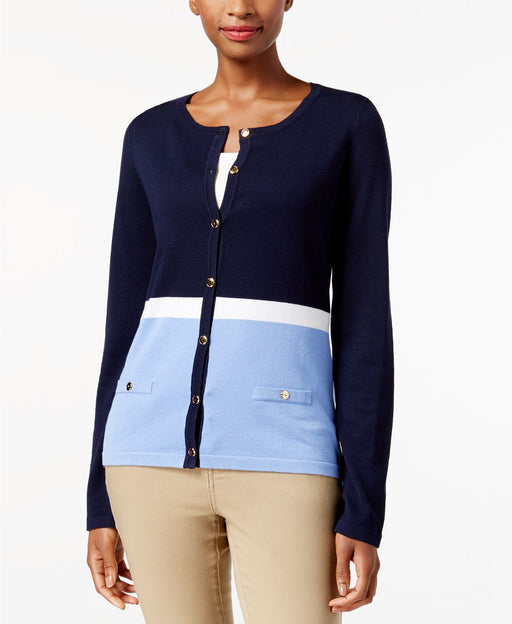 Karen Scott Colorblocked Cardigan Intrepid Blue Combo XL