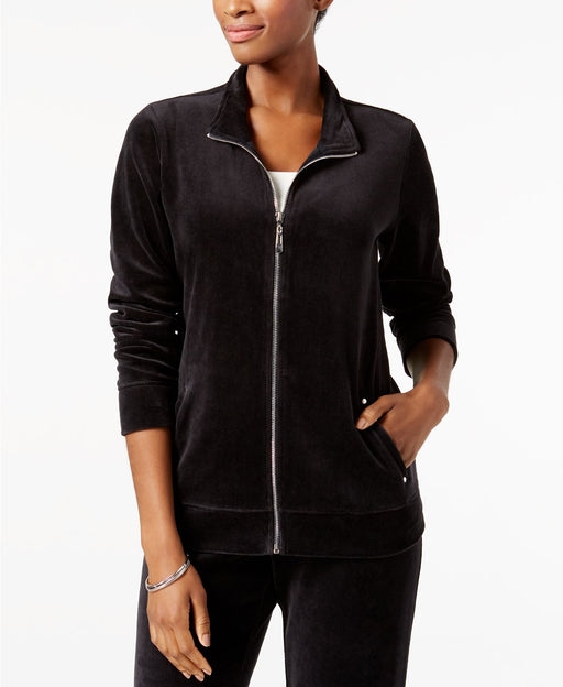 Karen Scott Mock-Neck Velour Jacket Deep Black M