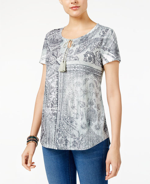 Style Co Petite Printed Peasant Top Land Of Beauty PS
