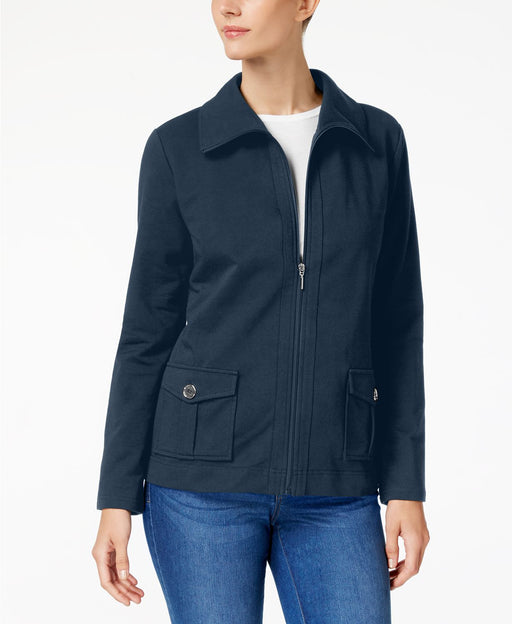 Karen Scott Petite Zip Jacket Intrepid Blue PS