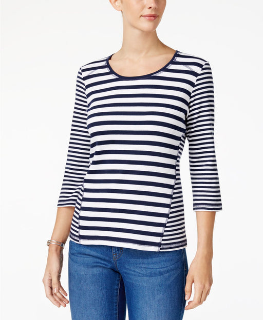 Karen Scott Petite Multi-Stripe 34-Sleeve Intrepid Blue PL