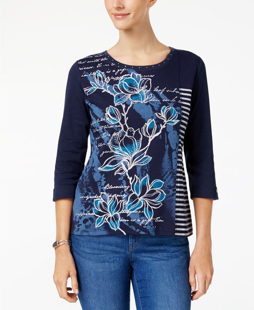 Karen Scott Metallic Mixed-Print Top Intrepid Blue M