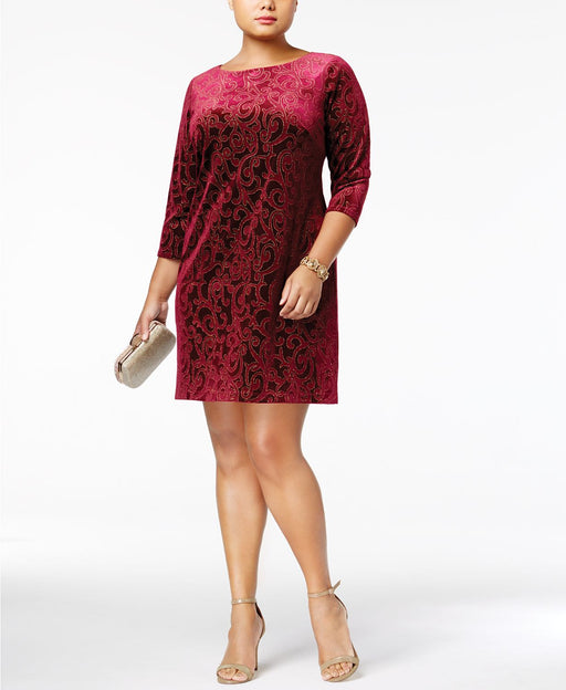 Jessica Howard Plus Size Burnout Velvet Shift Wine 16W