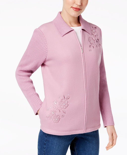 Alfred Dunner Embroidered Fleece Jacket Rose 12
