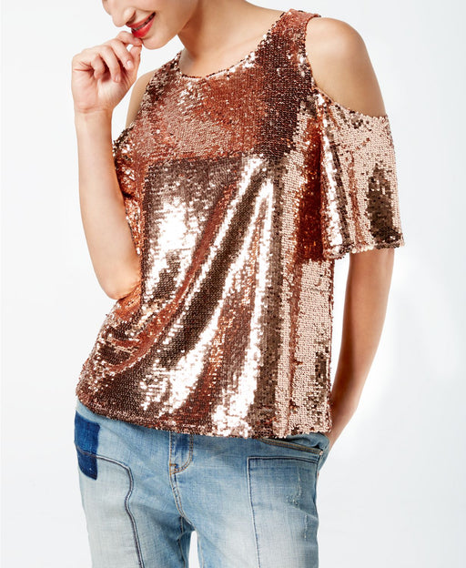 INC International Concepts Petite Sequined Cold-Shoulder Shimmer Rose PL