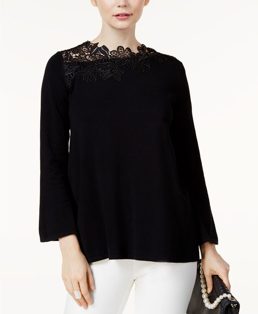 Alfani Petite Asymmetrical Lace-Neck Deep Black PXS