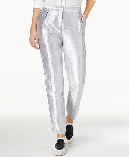 Armani Exchange Metallic Crinkle Pants Silver 2