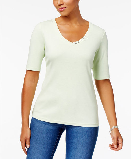 Karen Scott Elbow-Sleeve Cotton Top Bright White L