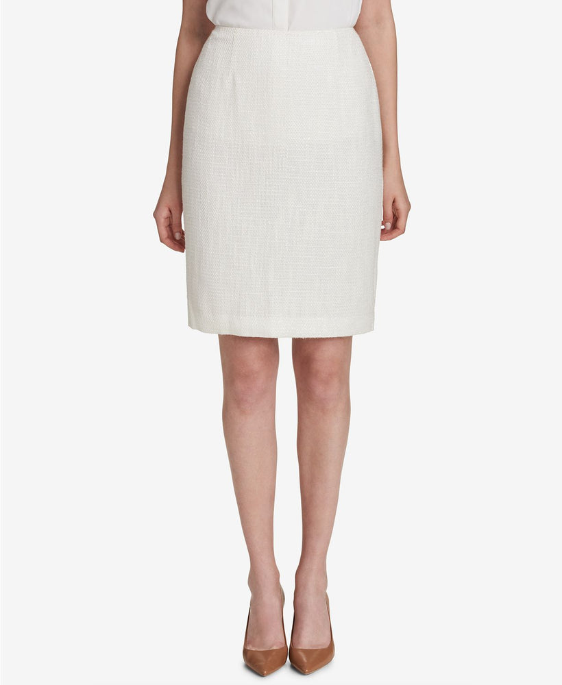 Calvin Klein Tweed Pencil Skirt, Regular Cream 0