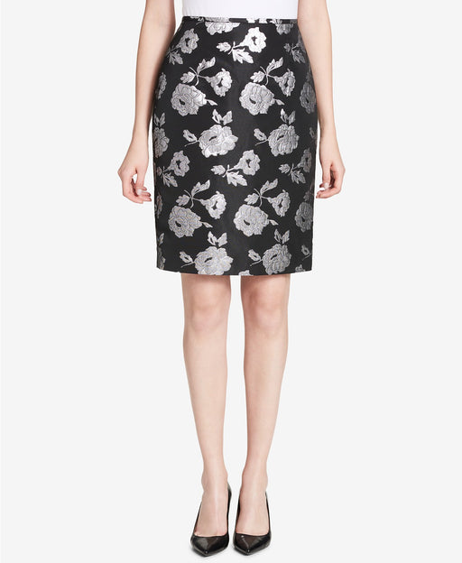 Calvin Klein Metallic Damask Pencil Skirt Black Tin 2
