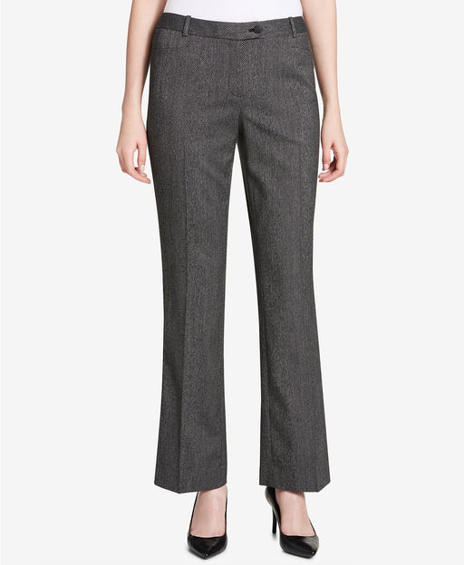 Calvin Klein Tab-Waist Herringbone Pants Black Cream 6