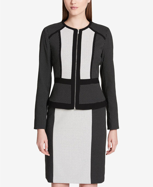 Calvin Klein Colorblocked Jacquard Jacket BlackCream 6