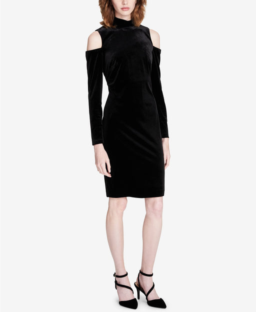 Calvin Klein Velvet Cold-Shoulder Dress Black 8