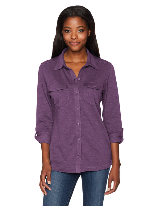 Columbia Easygoing Button-Down Top Dusty Purple L