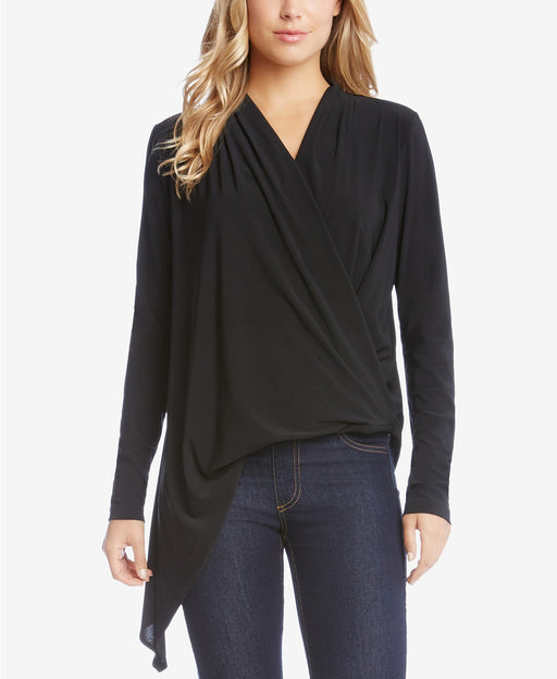 Karen Kane Asymmetrical Surplice Top Black L