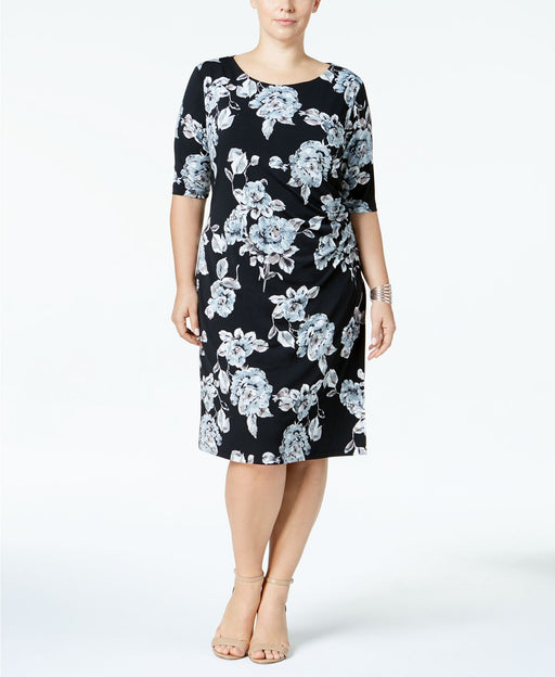 Connected Plus Size Gathered-Side Sheath Gray 16W