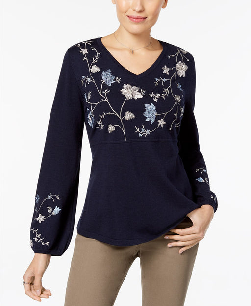 Style Co Embroidered Sweater Industrial Blue L