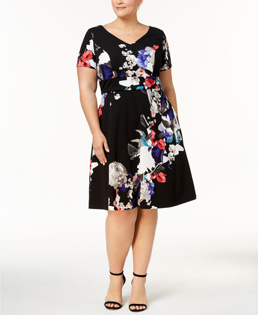 sangria Plus Size Printed Fit Flare Black 20W