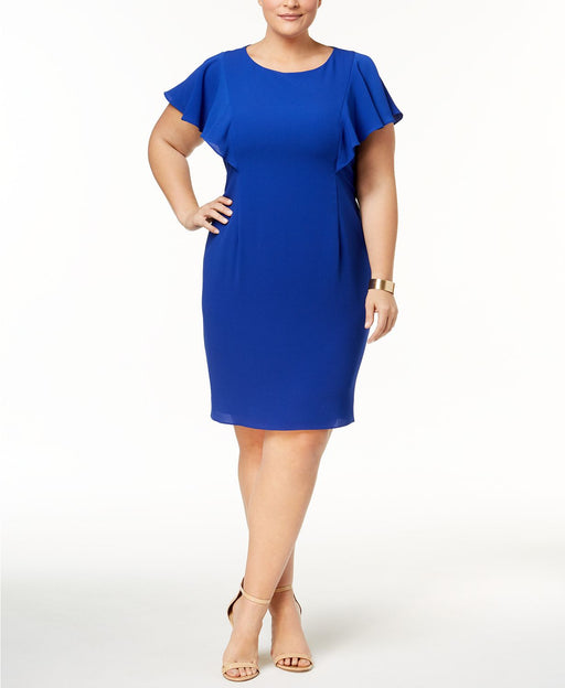 Jessica Howard Plus Size Flutter-Sleeve Sheat Roy 20W
