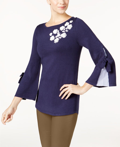 Charter Club Applique Contrast Sweater Intrepid Blue XS